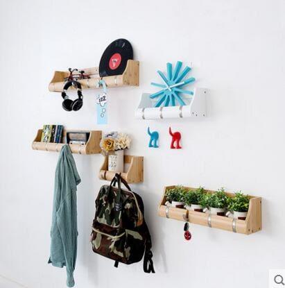 唯妮美歐式門廳壁掛衣帽架創意玄關實木掛衣架牆上掛鉤置物架(2鉤)