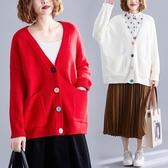胖妹妹秋冬減齡撞色紐扣v領針織衫女寬鬆慵懶風毛衣開衫外套