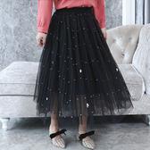 ★韓美姬★中大尺碼~珍珠裝飾網紗長裙(XL~2XL)