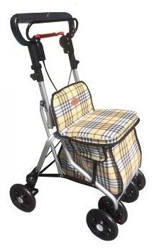四輪車-鋁製散步車 (健步車/購物車)(格子布/粉紅色)FZK680