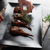 盤子陶瓷 創意歐式簡約長方盤牛排盤子 啞光黑大號壽司羊排西餐盤