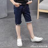 男童牛仔褲新款夏裝兒童中褲中大童薄款彈力七分褲寶寶短褲男艾美時尚衣櫥