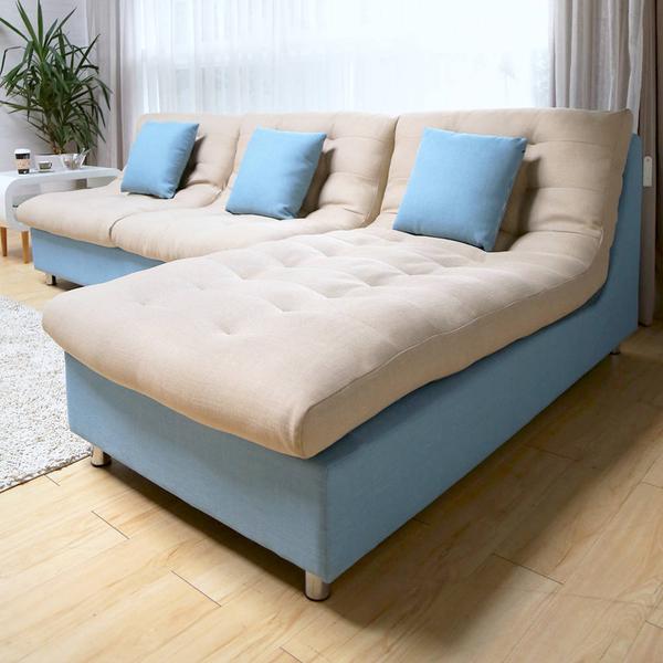 Cloudy雲朵超柔軟防潑水L型沙發/台灣製造(RFY/A001藍色L型沙發(面6103 椅身6129))【obis】