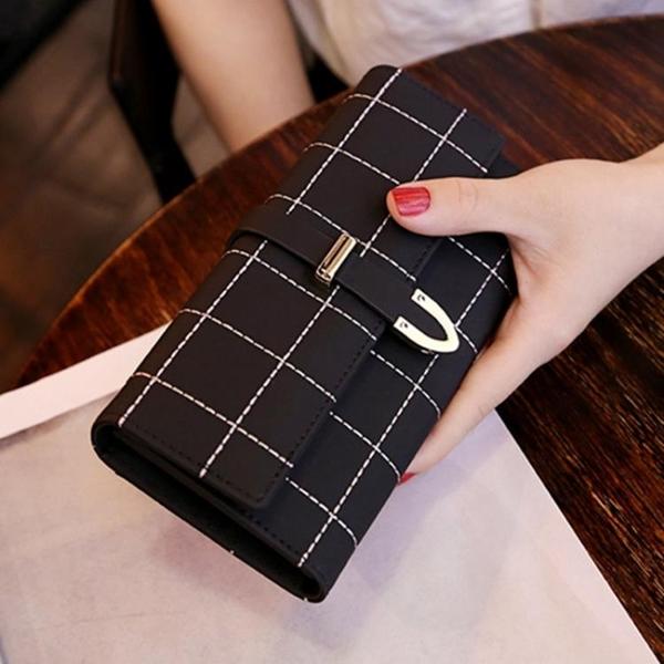 新款錢包女長款磨砂日韓大容量多功能三折女式錢夾皮夾手拿包 韓美e站