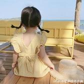 2021新款夏季3兒童格子洋氣洋裝/連身裙女童公主裙子露背純棉寶寶4 快速出貨