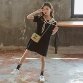洋裝 女童連身裙2020新款夏中大童韓版學院風純棉中長款洋氣公主裙12歲 朵拉朵YC