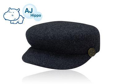 AJ Hippo 小河馬 純羊毛貝雷帽 1-3歲 (深灰黑/彩紅紫)