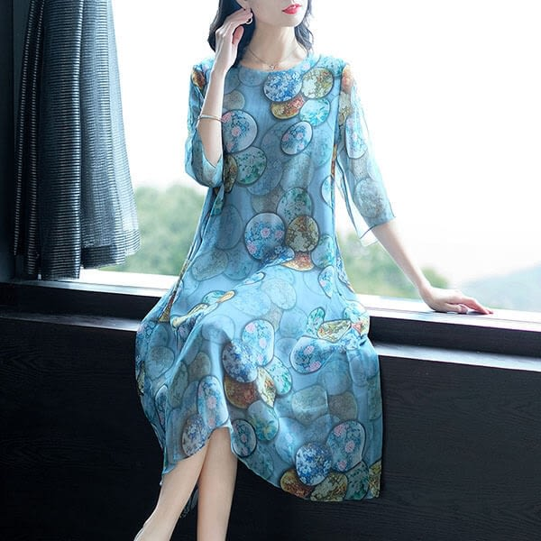 絲質 飄逸感印花洋裝-中大尺碼 獨具衣格