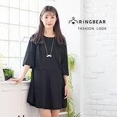 黑色洋裝--日系素面氣質圓領顯瘦荷葉袖傘狀裙襬五分袖洋裝(黑L-4L)-D466眼圈熊中大尺碼