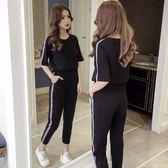 運動套裝夏裝時尚韓版夏天休閒衛衣兩件套運動服 GB5176『優童屋』