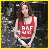 全館83折 吊帶背心女夏外穿短款緊身無袖t恤韓版原宿字母打底低胸性感上衣