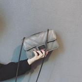 小包包女2019新款潮時尚韓版百搭ins鍊條菱格包迷你包單肩斜跨包
