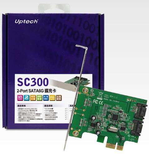 [ 中將3C ]   Uptech 登昌恆 SC300 2-Port SATA6G 擴充卡 SC-300