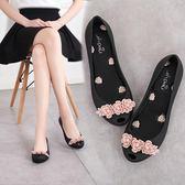 新款魚嘴果凍鞋女涼鞋夏季透氣膠鞋軟底時尚花朵沙灘鞋防滑  卡布奇诺