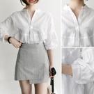 白襯衫 2020韓范燈籠袖白色襯衫女立領七分袖襯衣休閑寬松百搭小清新上衣