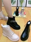 2020秋季新款系帶后拉鏈馬丁靴女百搭英倫風透氣秋款網紅短靴單靴 交換禮物