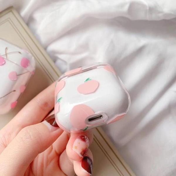 韓國ins少女粉桃airpods保護套防摔硬殼Airpods保護套防塵韓國人氣透明硬殼airpods蘋果耳機 露天拍賣