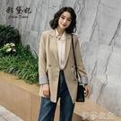 外套 春季新款韓版大碼百搭中長款外套西服修身百搭大碼休閒西裝