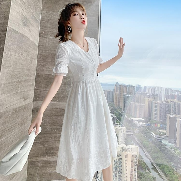 小洋裝 法式復古文藝小個子仙女裙小清新氣質顯瘦連身裙N718快時尚