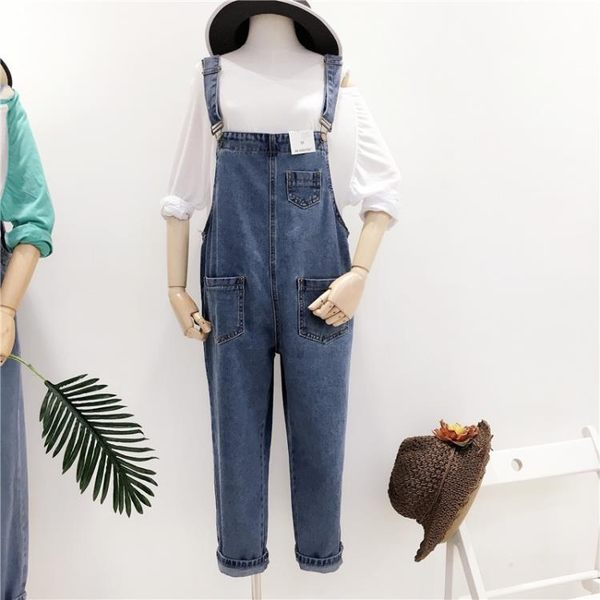 牛仔連身褲長褲正韓寬鬆大尺碼闊腿牛仔褲女連身褲顯瘦連體褲