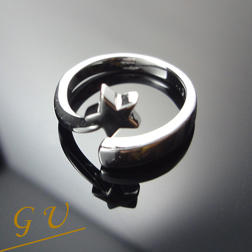 【GU 】B97 女友生日禮物925純銀飾品白金尾戒 GresUnic Asivers 星星銀戒指 女戒