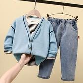 男童套裝 童裝男童2021春加絨三件套兒童春秋洋氣寶寶秋裝小童時髦套裝【快速出貨八折搶購】