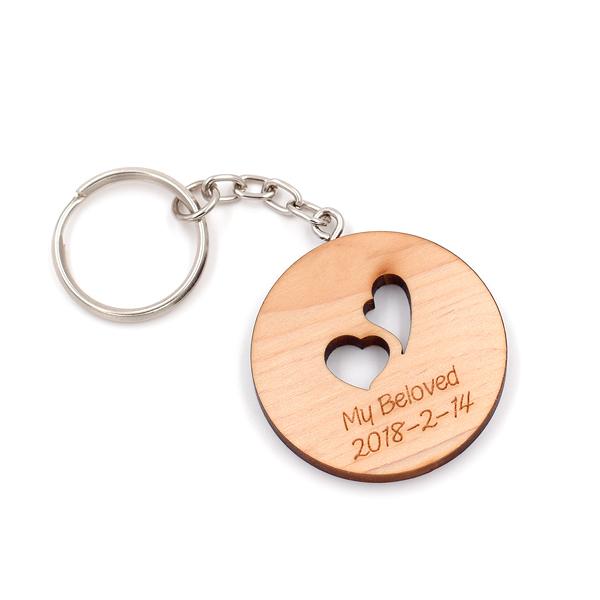 芬多森林 台灣檜木想念你鑰匙圈,關於愛情起點吊飾鎖圈,原木高品質雷射訂製,創意木片客製化