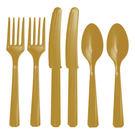 塑膠刀叉匙24入-璀璨金