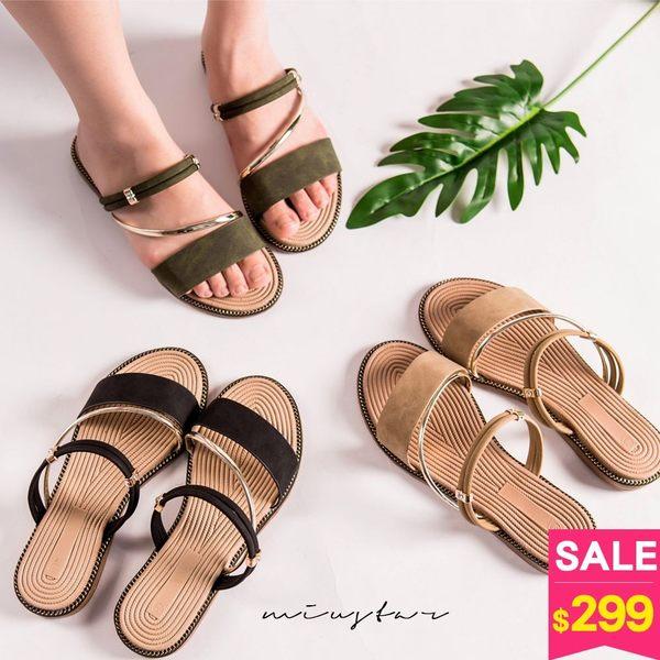 MIUSTAR 磨砂質感金屬斜向系帶兩穿式涼拖鞋(共3色,36-40)【NF3188ZP】預購