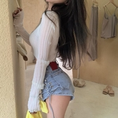 針織衫女夏長袖防曬空調衫短款V領鏤空薄款白色外套外搭開衫上衣 唯伊