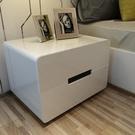 床頭櫃 床頭櫃簡約現代白色鋼琴烤漆歐式床...