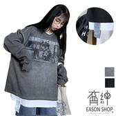 EASON SHOP(GW8798)實拍港味復古卡通圖像印花落肩寬鬆圓領長袖素色棉T恤裙女上衣服大尺碼OVERSIZE