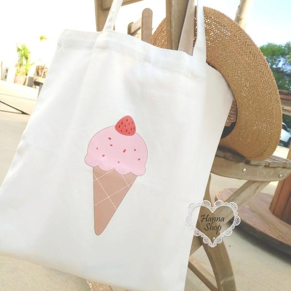 《花花創意会社》外流。夏日冰淇淋清新白帆布側背包A4綁帶設計學生補習包【H7193】
