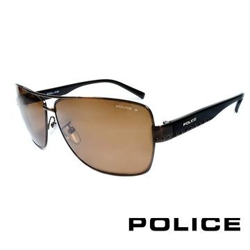 【南紡購物中心】POLICE 義大利警察都會款個性型男眼鏡-金屬框(棕黑) POS8880-K05P