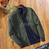 棉衣外套男 中年男士夾克春秋季立領純棉夾克衫爸爸裝雙面穿休閒男裝薄款外套 俏女孩