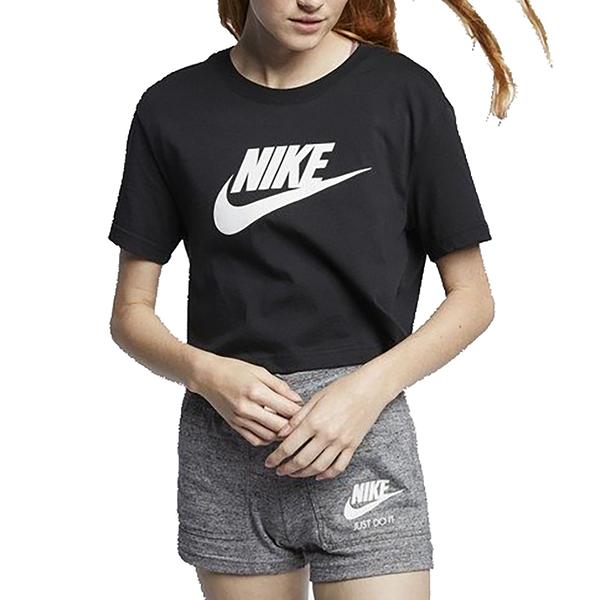 NIKE NSW TEE ESSNTL CRP ICN FT 黑 女 LOGO 短版 休閒 短袖 上衣 BV6176010