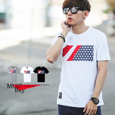T恤 PERSIST美國國旗立體鋼印短TEE【NB0205J】