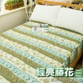 保潔墊 - 雙人 [床包式 經典藤花] 印花鋪棉 3層抗污 寢居樂 台灣製