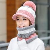 毛線帽子女冬季針織帽加厚冬天騎車防風護耳帽加絨保暖連體圍脖帽