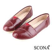 SCONA 全真皮 經典舒適百搭懶人鞋 紅色 22419-3