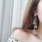 耳環 滿鑽蝴蝶不對稱耳環韓國氣質女時尚百搭潮人耳飾品耳墜長款耳釘 城市科技