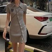 短袖洋裝 polo領洋裝女夏季甜辣妹風修身顯瘦設計感小眾小熊短袖包臀裙子【快速出貨】