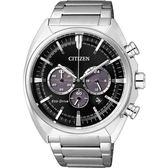 【送米奇電扇】聖誕推薦 CITIZEN Eco-Drive 光動能跨時代計時腕錶-黑x銀/43mm CA4280-53E