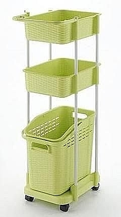 日本製*日本知名品牌RICHELL 三層洗衣籃附輪 -綠色