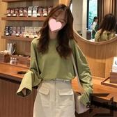 長袖T恤女寬松打底衫韓版慵懶風中長款純色上衣【左岸男裝】
