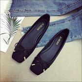 方頭素面蛇紋編織拼接芭蕾舞鞋娃娃鞋包鞋女鞋黑色(35-41加大尺碼)現貨