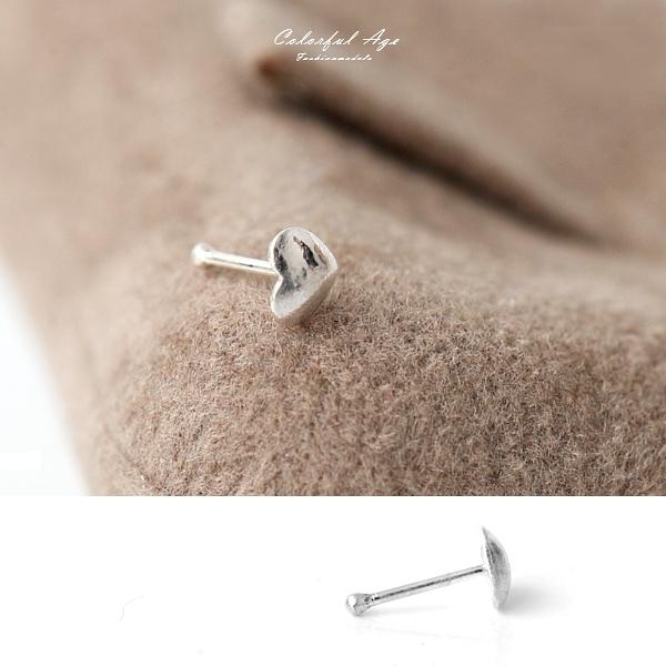 鼻環 925純銀簡約愛心鼻針 柒彩年代【NPD79】單支價