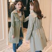 風衣 新款韓版收腰抽繩風衣女寬鬆顯瘦chic百搭中長款外套女「夢娜麗莎精品館」