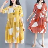 初心 夏日涼感棉麻洋裝 【D7154】 涼爽 幾何 線條 條紋 寬鬆 短袖 加大 輕薄透氣 手感佳
