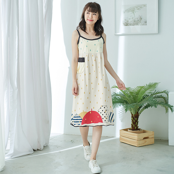 【慢。生活】單口袋雨滴背心洋裝-F 098 FREE淺黃